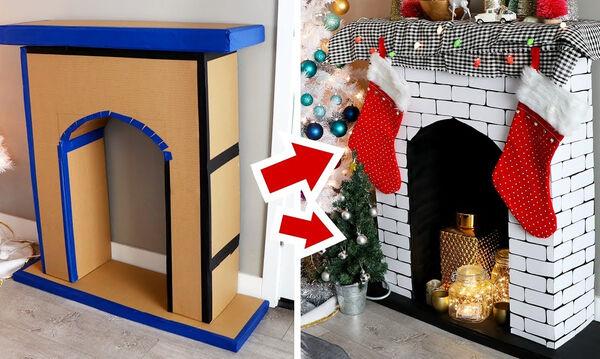 Φτιάξτε υπέροχο τζάκι από χαρτόνι για τις γιορτές και όχι μόνο (vid)