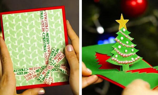 Στείλτε τις ευχές σας με χριστουγεννιάτικες χειροποίητες κάρτες - Πώς θα τις φτιάξετε (vid)