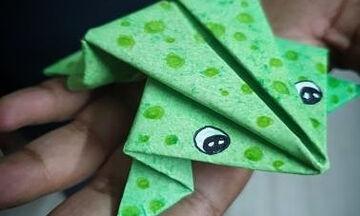 Πώς να φτιάξετε ένα χαριτωμένο βάτραχο από χαρτί (pics+vid)