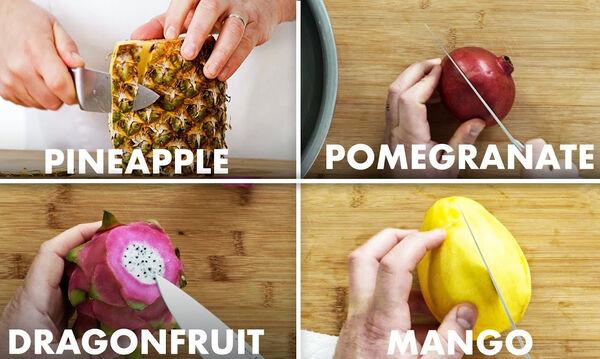 Αυτός είναι ο κατάλληλος τρόπος για να κόψετε το κάθε φρούτο (vid)