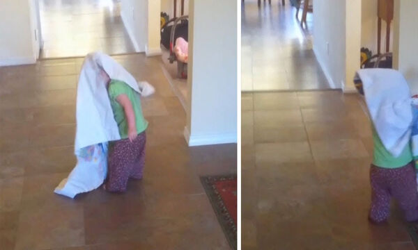Πιτσιρίκα έβαλε μια κουβέρτα στο κεφάλι της και δείτε τι συνέβη (vid)