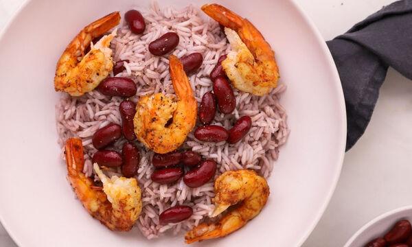Συνταγή για γαρίδες με ρύζι και κόκκινα φασόλια
