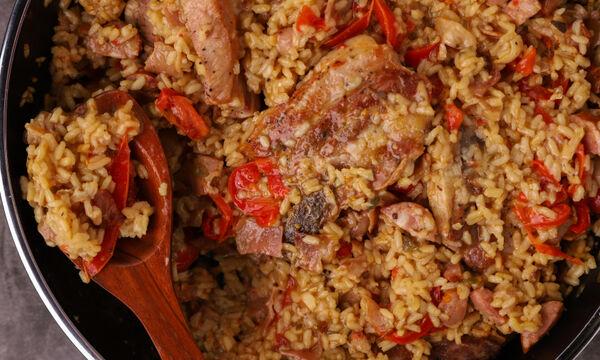 Συνταγή για ψητό ρύζι με χοιρινή πανσέτα