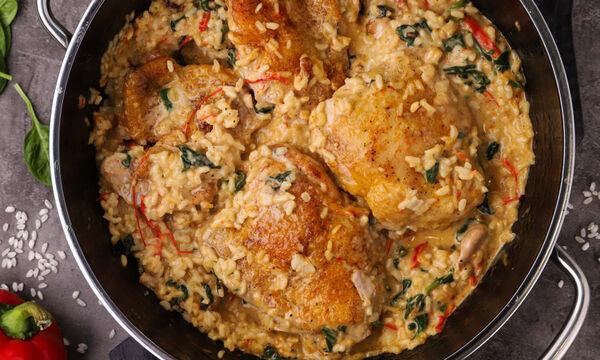 Κοτόπουλο με ρύζι και σπανάκι - Δείτε πώς θα το φτιάξετε
