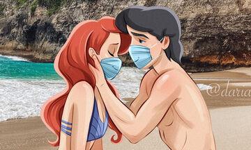 Κορονοϊός: Καλλιτέχνης ζωγραφίζει τη γοργόνα Άριελ με μάσκα & θλιμμένη έκφραση (pics)