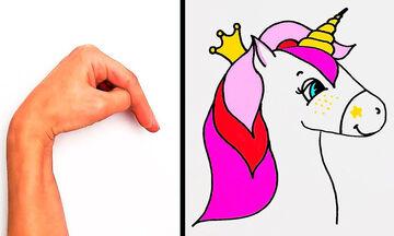 #Mένουμε_σπίτι και ζωγραφίζουμε: 28 έξυπνα σχέδια με τα δάχτυλα και την παλάμη (vid)