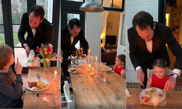 #Μένουμε_Σπίτι: Μπαμπάς ετοίμασε πολυτελές δείπνο στα παιδιά του και έγινε viral (vid)