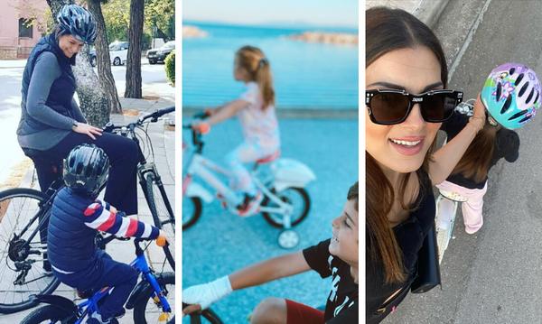 Διάσημες Ελληνίδες μαμάδες που απολαμβάνουν την ποδηλατάδα με τα παιδιά τους εν μέσω πανδημίας(pics)