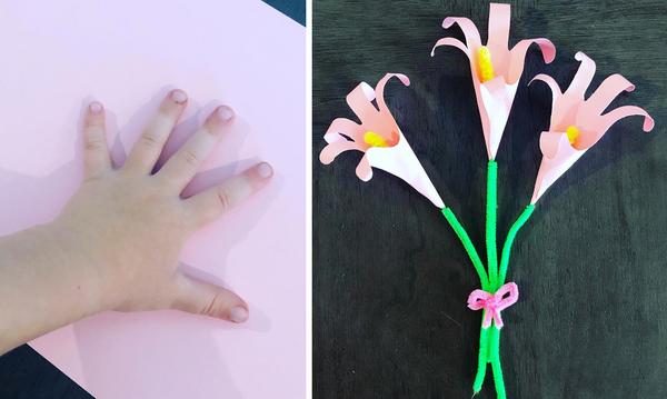 DIY - Φτιάξτε χρωματιστά λουλούδια από χαρτί χρησιμοποιώντας την παλάμη του χεριού σας (pics)