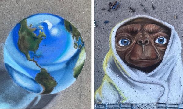 Υπέροχο! Μαμά & κόρη κάνουν απίθανες δημιουργίες με κιμωλία σε πεζοδρόμια της γειτονιάς τους (pics)