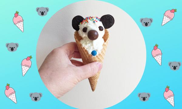 Φτιάξτε υπέροχα κοάλα με παγωτό βανίλια και χωνάκια (pics)