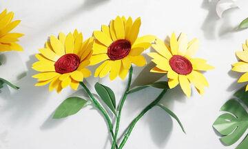 Χειροτεχνίες για παιδιά: Φτιάξτε όμορφα ηλιοτρόπια από χαρτί (vid)
