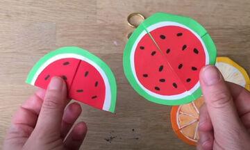 Δείτε πώς θα φτιάξετε χάρτινους σελιδοδείκτες καρπούζι σε 5 μόλις λεπτά
