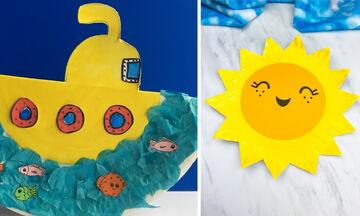 Κατασκευές για παιδιά: Τρεις καλοκαιρινές χειροτεχνίες με πλαστικά πιατάκια