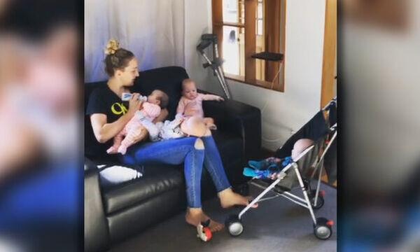 Viral βίντεο δείχνει πώς περνά τη μέρα της μια μαμά με τετράδυμα (vid)