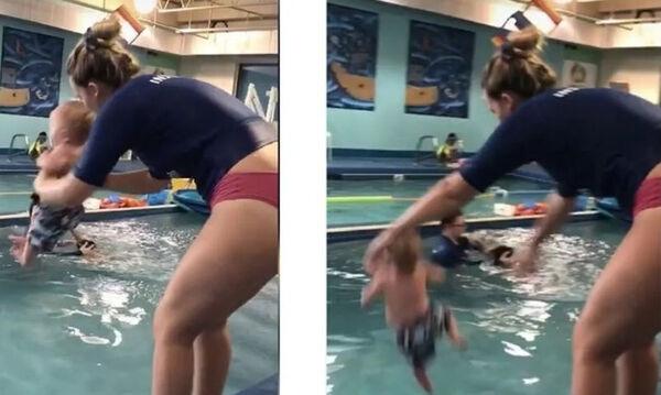 8 μηνών μωρό το πετούν στην πισίνα για να μάθει κολύμπι (vid)