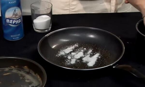 Καθαρίστε βρώμικο τηγάνι μόνο με ξύδι και μαγειρική σόδα (video)