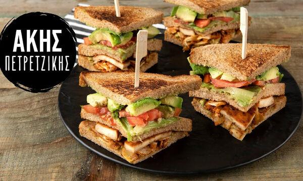 Νόστιμο και υγιεινό vegetarian κλαμπ σάντουιτς από τον Άκη Πετρετζίκη