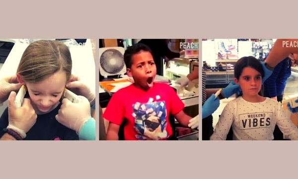 Αντιδράσεις παιδιών που κάνουν για πρώτη φορά τρύπες στα αυτιά (vid)