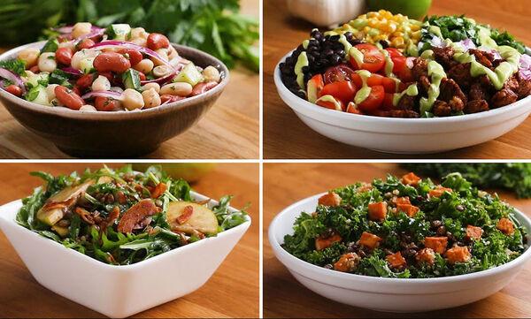 Πέντε χορταστικές σαλάτες με πρωτεΐνη (vid)