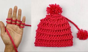 Πλέξιμο χωρίς βελόνες: Πλέκουμε ζεστά σκουφάκια μόνο με τα δάχτυλα
