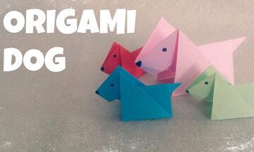 Χειροτεχνίες για παιδιά: Φτιάξτε σκυλάκια origami σε δύο μόνο λεπτά