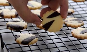 Τραγανά δίχρωμα μπισκότα ζέβρα (vid)