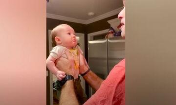 Απολαυστικές αντιδράσεις μωρών όταν βλέπουν τους μπαμπάδες τους χωρίς γένια