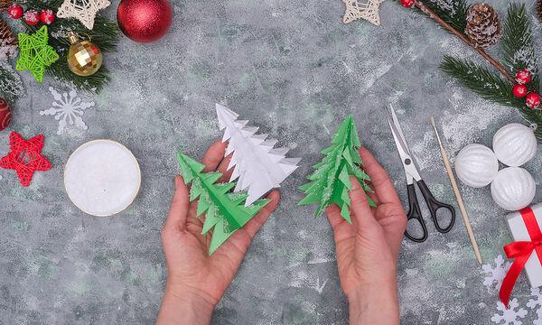 Κατασκευές για παιδιά: Φτιάξτε χριστουγεννιάτικα δεντράκια από χαρτί