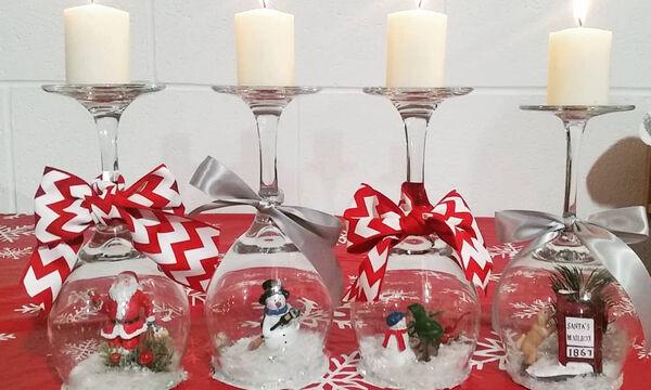 Φανταστικές ιδέες για χριστουγεννιάτικα κηροπήγια με ποτήρια