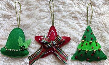Χριστουγεννιάτικα στολίδια από τσόχα: Πώς θα τα φτιάξετε (vid)