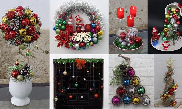 Πανέξυπνες και όμορφες χριστουγεννιάτικες συνθέσεις με μπάλες (vid)