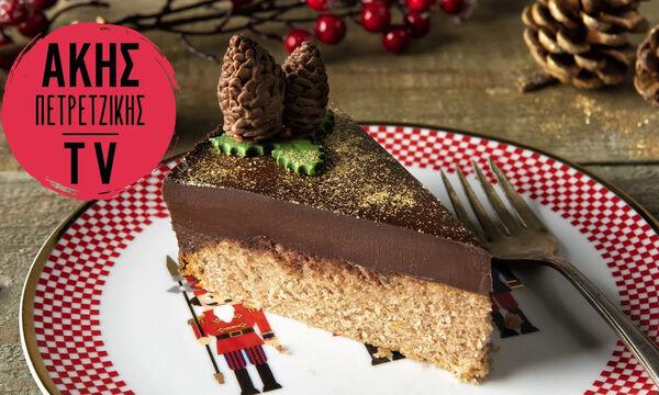 Κέικ με μαυροδάφνη και γκανάς σοκολάτας από τον Άκη Πετρετζίκη