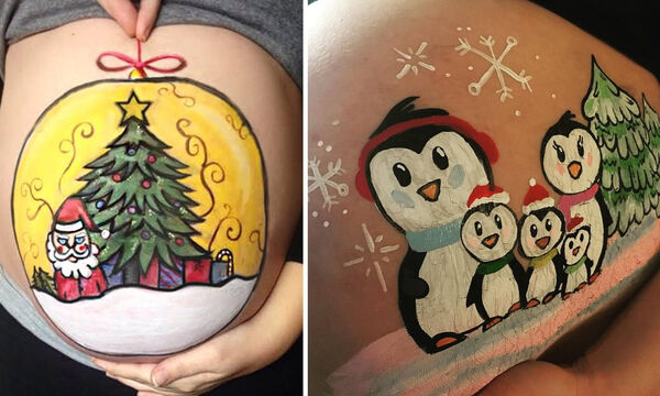 Belly painting: Χριστουγεννιάτικα σχέδια ζωγραφισμένα σε κοιλίτσες εγκύων
