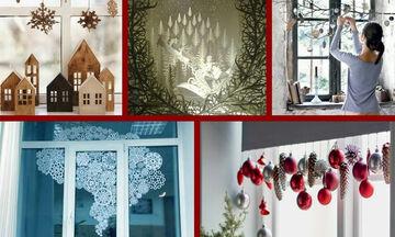 Υπέροχες χριστουγεννιάτικες ιδέες για να διακοσμήσετε τα παράθυρα