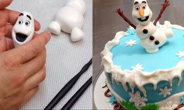 Σπιτική τούρτα Olaf για παιδιά που έχουν γενέθλια τον Δεκέμβρη
