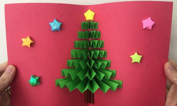 Χειροτεχνίες για παιδιά: Εντυπωσιακή τρισδιάστατη κάρτα για τα Χριστούγεννα