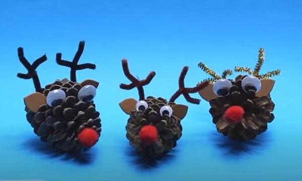 Χειροτεχνίες για παιδιά: Χριστουγεννιάτικα ταρανδάκια από κουκουνάρια