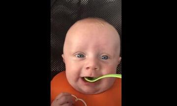 Μωρό δοκιμάζει για πρώτη φορά αρακά και η αντίδρασή του είναι απολαυστική