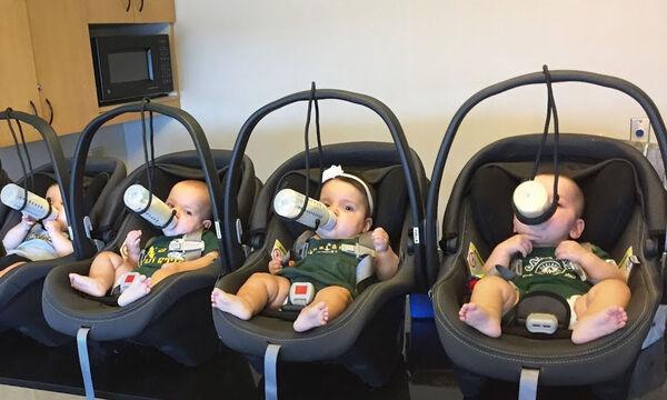 Πώς μπορείς να φροντίσεις πέντε μωρά; Αυτός ο μπαμπάς έχει τον τρόπο