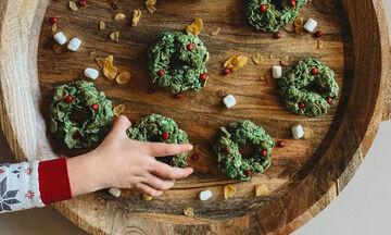 Χριστουγεννιάτικα στεφανάκια με δημητριακά (pics&vid)