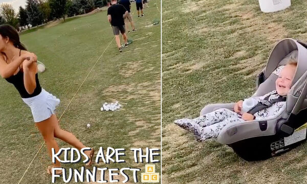 Βλέπει τη μαμά της να παίζει γκολφ και η αντίδρασή της είναι μοναδική (vid)