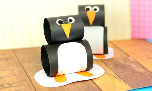 Χειροτεχνίες για παιδιά: Φτιάξτε πιγκουινάκια από χαρτί εύκολα και γρήγορα