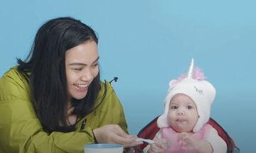 Μωρά δοκιμάζουν περίεργα φαγητά απ' όλο τον κόσμο και γίνονται viral