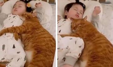 Cuteness Overload! Αυτός ο γάτος παίρνει αγκαλιά το μωρό ενώ κοιμάται
