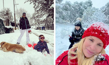 Διάσημοι Έλληνες γονείς φωτογραφίζουν τα παιδιά τους στα χιόνια (pics)