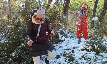 Ευδοκία Ρουμελιώτη: Ο γιος της έφτιαξε έναν εντυπωσιακό χιονάνθρωπο