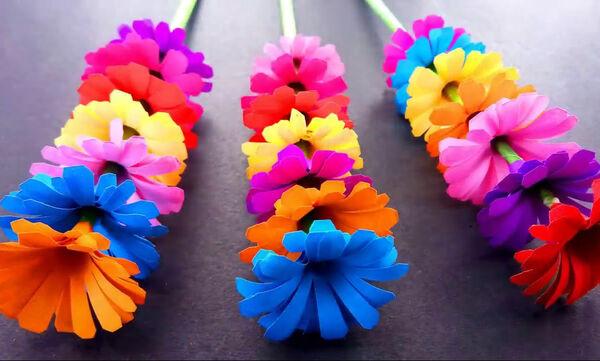 Χειροτεχνίες για παιδιά: Φτιάξτε πολύχρωμα λουλούδια από χαρτί