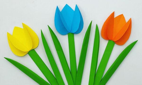 Χειροτεχνίες για παιδιά: Φτιάξτε πολύχρωμες τουλίπες από χαρτί