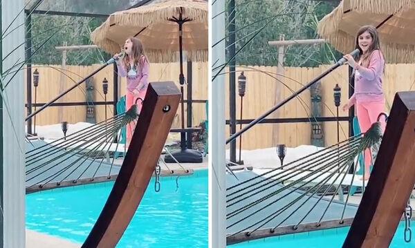 8χρονη κάνει δουλειές και τραγουδά χωρίς να αντιληφθεί ότι την τραβούν βίντεο